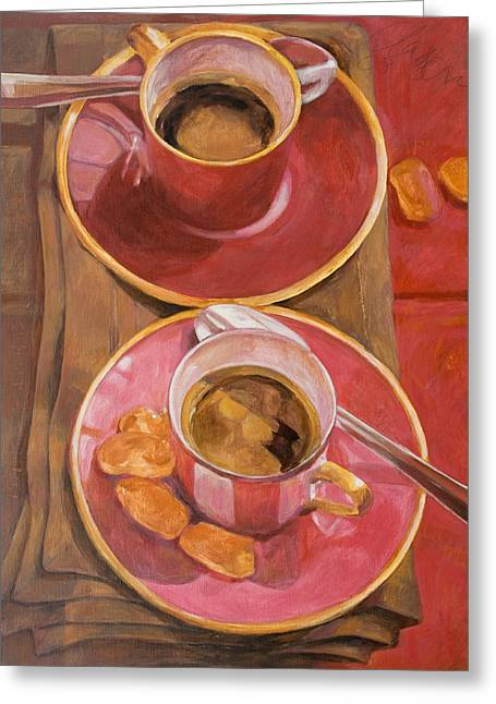 Two Coffee Cups Greeting Cards - Coffee For Two Greeting Card by Anke Classen
