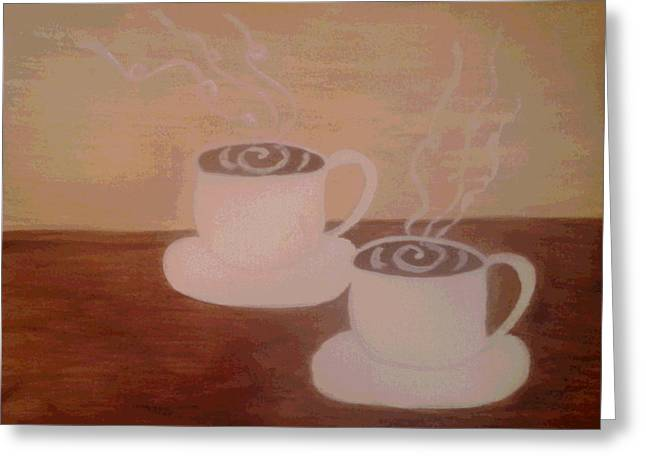 Two Coffee Cups Greeting Cards - Coffee for Two Greeting Card by Erica  Darknell