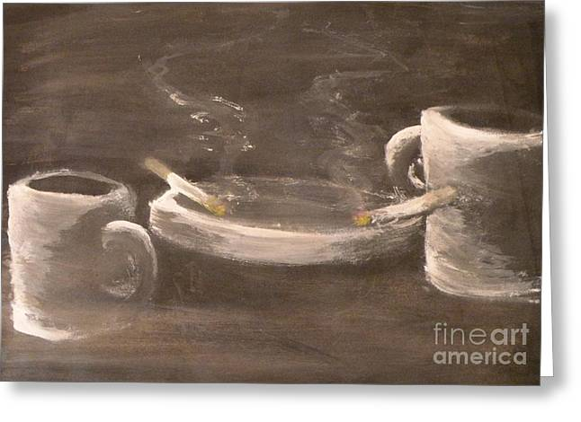 Two Coffee Cups Greeting Cards - Coffee for two Greeting Card by Michael Stanley