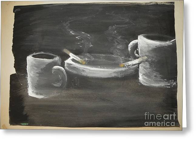 Two Coffee Cups Greeting Cards - Coffee for two with boarder Greeting Card by Michael Stanley