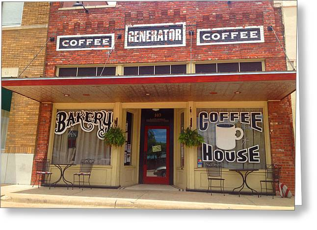 Store Fronts Greeting Cards - Coffee Generator - Garland TX Real Photo Greeting Card by Robert Pierce