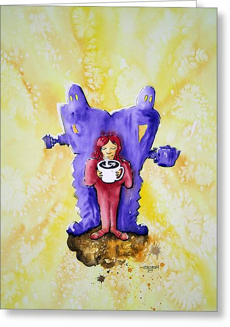 Pajamas Greeting Cards - Coffee Girl with Robots Greeting Card by Jay Larsen