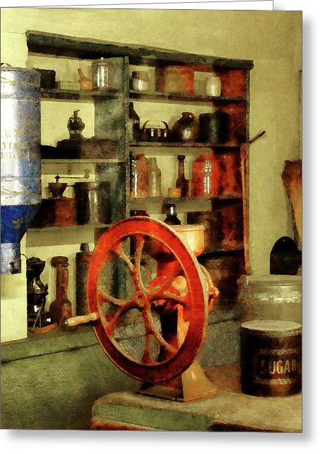 Coffee Greeting Cards - Coffee Grinder And Canister Of Sugar Greeting Card by Susan Savad