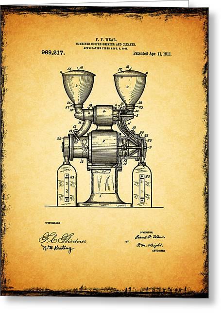 Grinder Greeting Cards - Coffee Grinder Patent 1911 Greeting Card by Mark Rogan