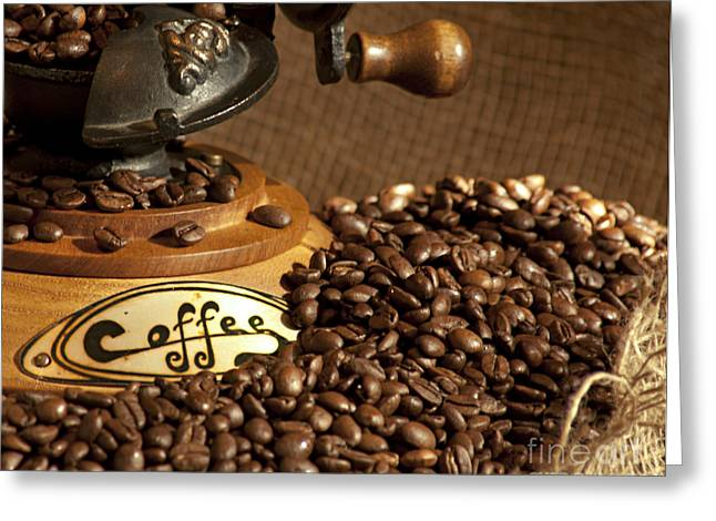 Gunter Nezhoda Greeting Cards - Coffee grinder with beans Greeting Card by Gunter Nezhoda