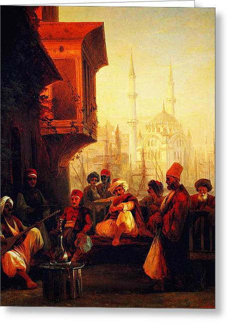 Kilburne Posters Greeting Cards - Coffee House By The Ortakoy Mosque In Constantinople 1846 Greeting Card by MotionAge Designs