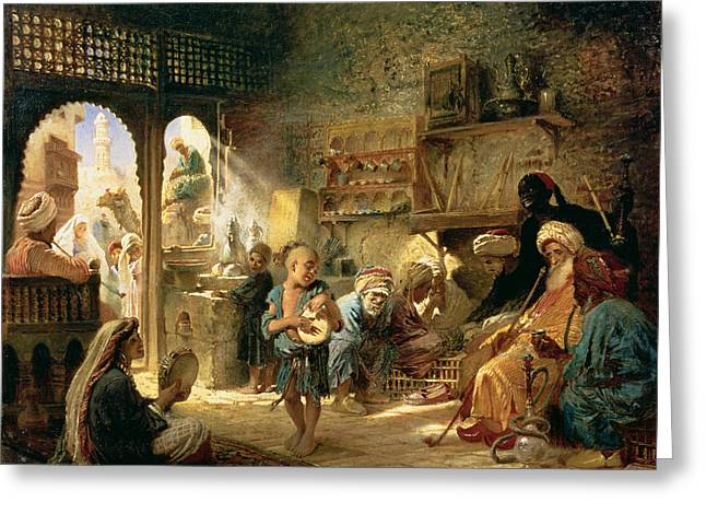 Hookah Greeting Cards - Coffee House In Cairo, 1870s Oil On Canvas Greeting Card by Konstantin Egorovich Makovsky