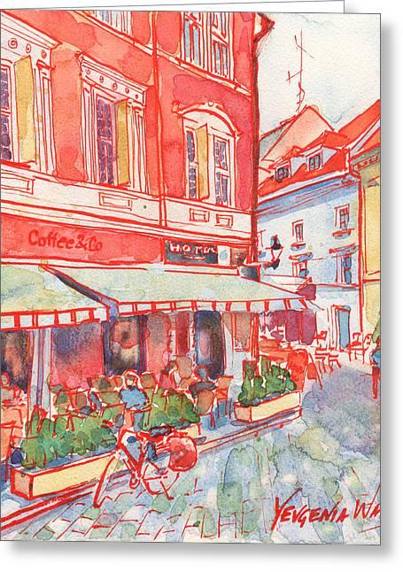 European Bicycle Shop Greeting Cards - Coffee in Bratislava Greeting Card by Yevgenia Watts