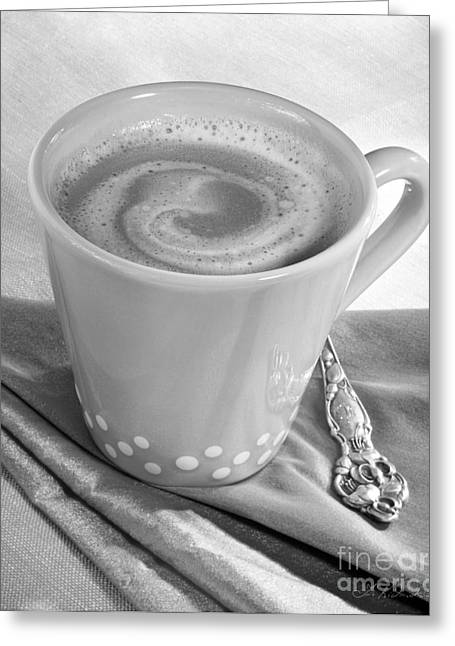 Kaffe Greeting Cards - Coffee in Tall Yellow Cup Black and White Greeting Card by Iris Richardson
