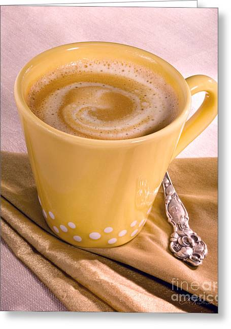 Kaffe Greeting Cards - Coffee in Tall Yellow Cup Greeting Card by Iris Richardson