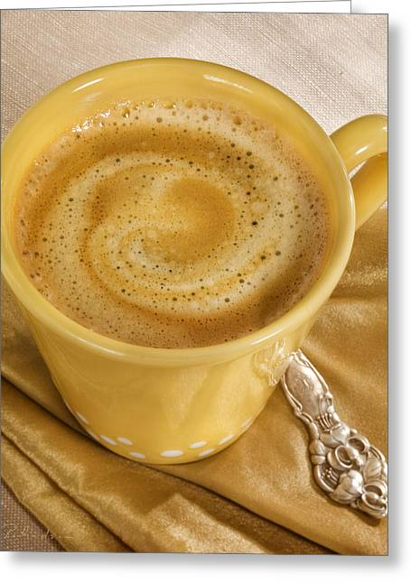 Owner Greeting Cards - Coffee in Yellow Greeting Card by Iris Richardson