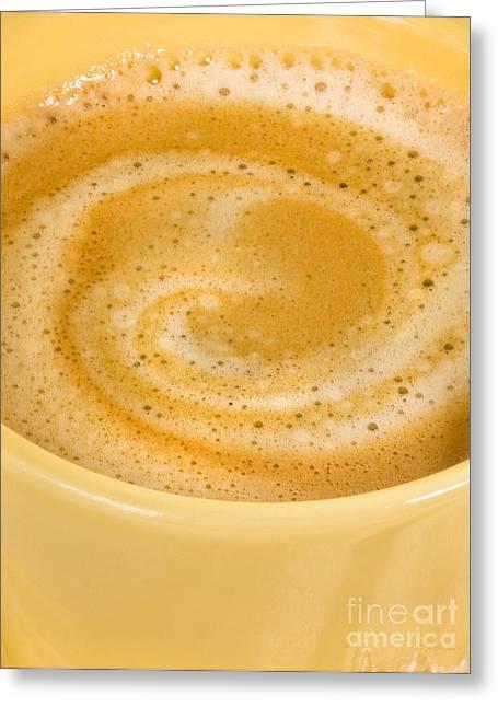 Coffee In Yellow Macro Greeting Card by Iris Richardson