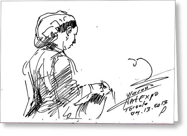 Sketch Greeting Cards - Coffee Lady Greeting Card by Ylli Haruni