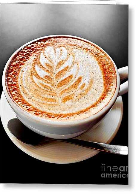 Foam Greeting Cards - Coffee latte with foam art Greeting Card by Elena Elisseeva