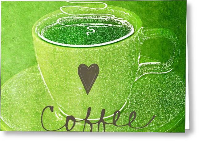 Coffee Greeting Card by Linda Woods