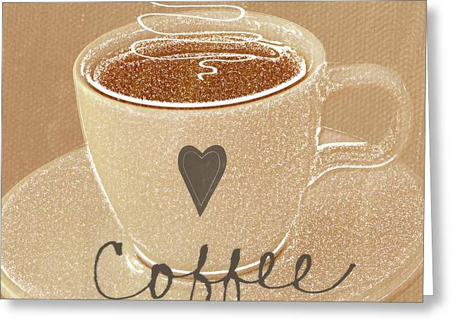 Restaurant Art Greeting Cards - Coffee Love in Mocha Greeting Card by Linda Woods