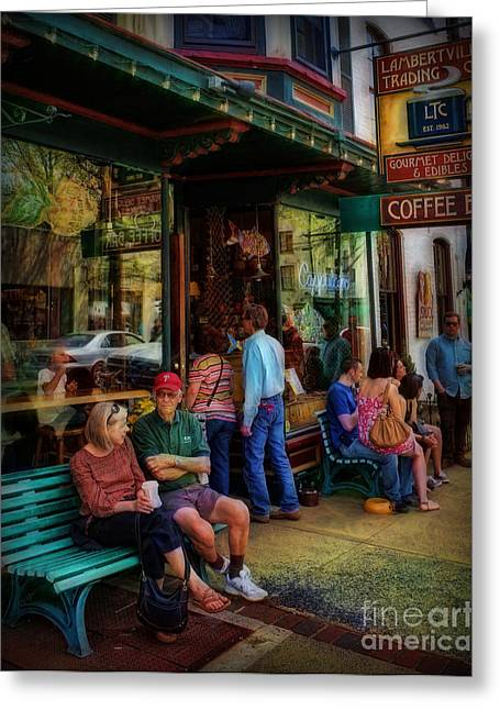 Older Couple Greeting Cards - Coffee Lovers Greeting Card by Lee Dos Santos