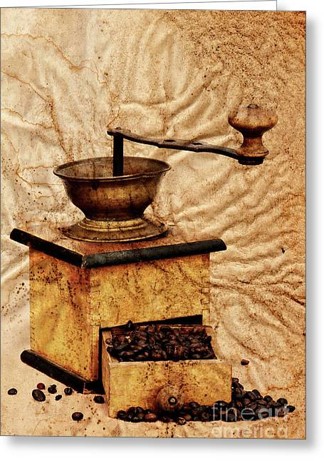 Antique Equipment Greeting Cards - Coffee Mill And Beans In Grunge Style Greeting Card by Michal Boubin