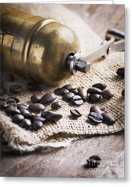 Shop Pyrography Greeting Cards - Coffee mill Greeting Card by Jelena Jovanovic