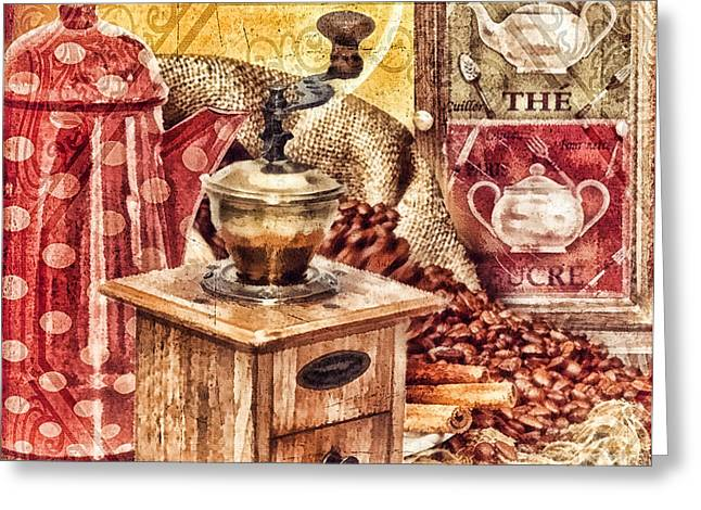 Coffee Mill Greeting Card by Mo T
