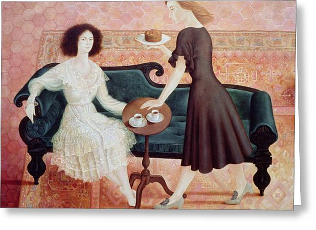 Drawing Room Greeting Cards - Coffee Morning, 1993 Greeting Card by Patricia O