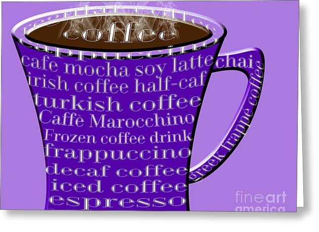 Decaf Greeting Cards - Coffee Mug Purple Typography Greeting Card by Andee Design