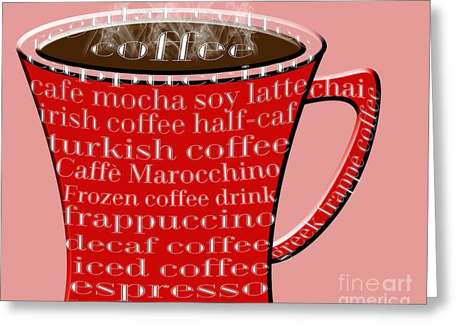 Decaf Greeting Cards - Coffee Mug Red Typography Greeting Card by Andee Design