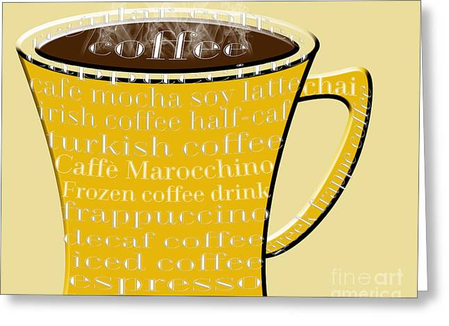 Decaf Greeting Cards - Coffee Mug Yellow Typography Greeting Card by Andee Design