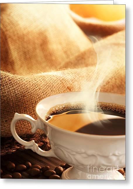 Mythja Greeting Cards - Coffee Greeting Card by Mythja  Photography