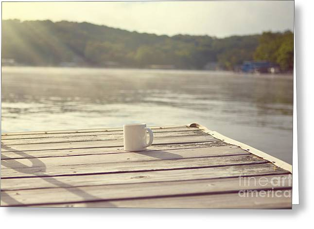 Lake House Greeting Cards - Coffee on the Dock Greeting Card by Kay Pickens