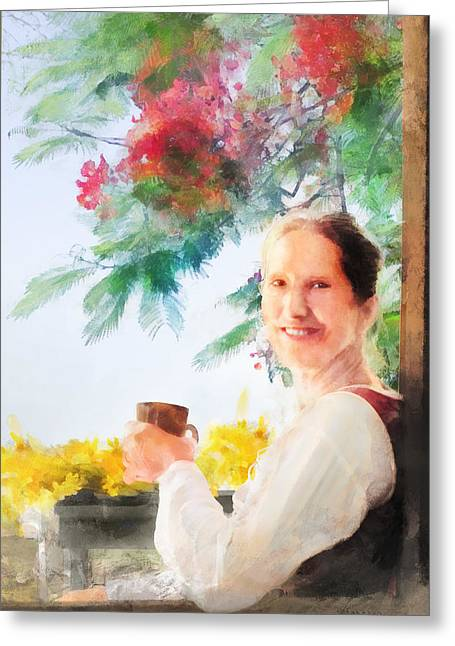 Coffee Drinking Digital Art Greeting Cards - Coffee on the Porch Greeting Card by Francesa Miller