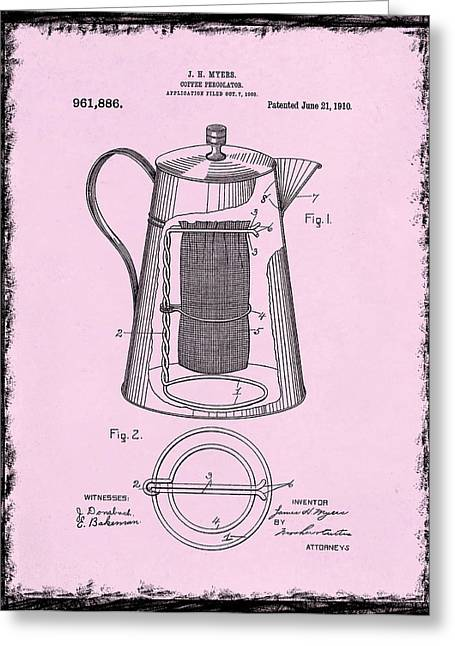 Coffee Grinder Greeting Cards - Coffee Percolator Patent 1910 Greeting Card by Mark Rogan
