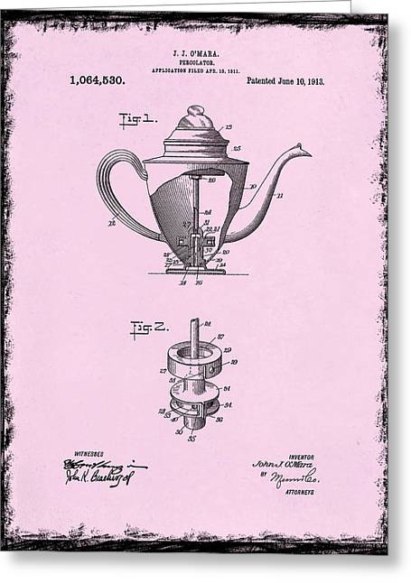 Coffee Grinder Greeting Cards - Coffee Percolator Patent 1918 Greeting Card by Mark Rogan