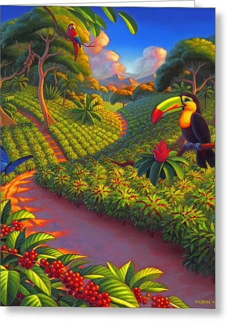 Robin Moline Greeting Cards - Coffee Plantation Greeting Card by Robin Moline