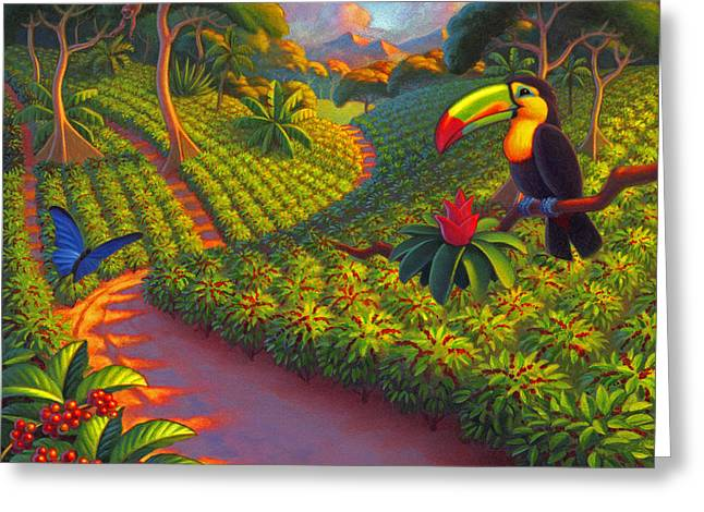 Coffee Plantation Greeting Card by Robin Moline