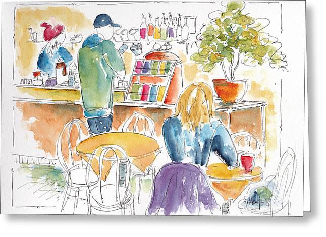 Hanging Out Greeting Cards - Coffee Please Greeting Card by Pat Katz