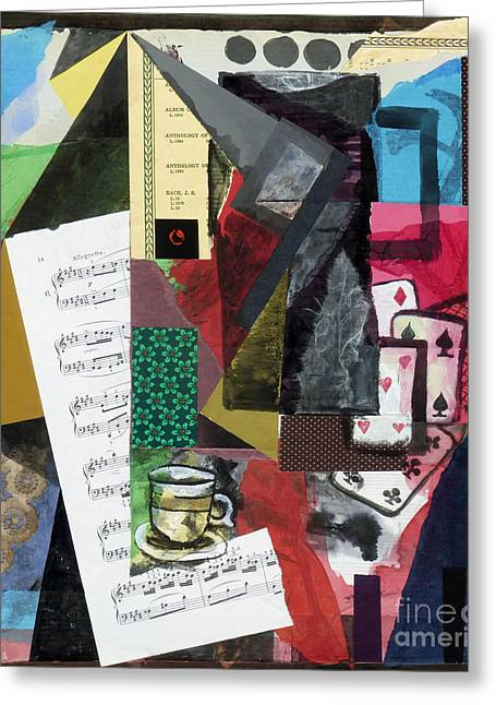 Interior Still Life Mixed Media Greeting Cards - Coffee Pot and Playing Cards Greeting Card by Phillip Castaldi