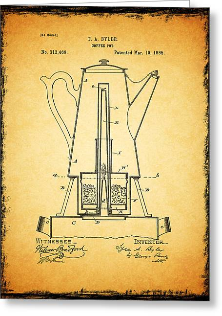 Coffee Grinder Greeting Cards - Coffee Pot Patent 1885 Greeting Card by Mark Rogan