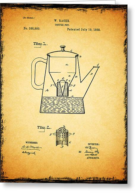 Coffee Grinder Greeting Cards - Coffee Pot Patent 1888 Greeting Card by Mark Rogan