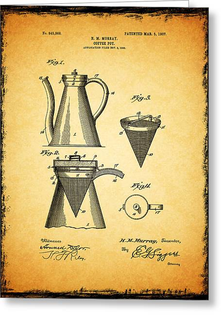 Coffee Grinder Greeting Cards - Coffee Pot Patent 1907 Greeting Card by Mark Rogan