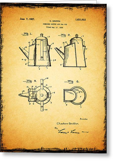 Coffee Pot Patent 1927 Greeting Card by Mark Rogan