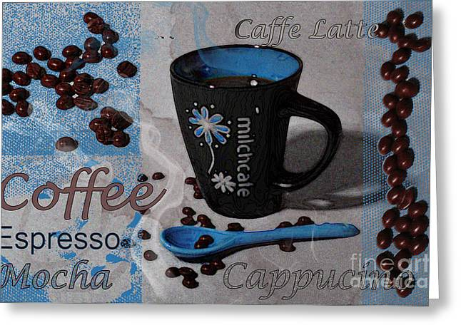 Kaffe Greeting Cards - Coffee Greeting Card by Randi Grace Nilsberg
