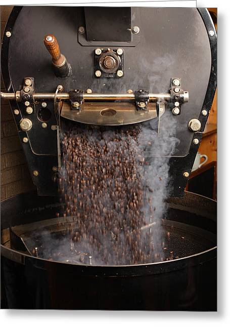 Pouring Greeting Cards - Coffee roaster pouring beans Greeting Card by Ron Sumners