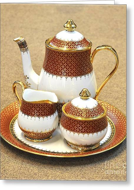 Home Ceramics Greeting Cards - Coffee Set Flower Painting  Greeting Card by NaturBliss Art Gallery