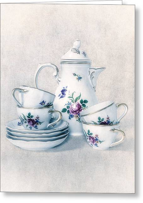 Tea Set Greeting Cards - Coffee Set Greeting Card by Joana Kruse