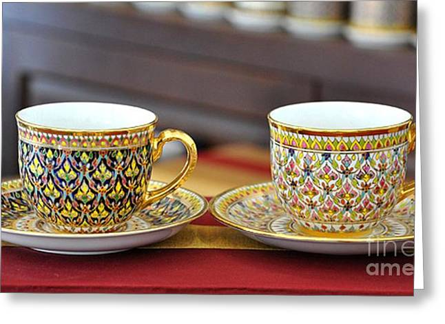 Home Ceramics Greeting Cards - Coffee Set Porcelain Flower painting photograph  Greeting Card by NaturBliss Art Gallery