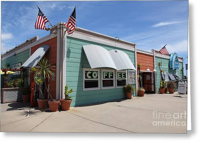 Santa Cruz Pier Greeting Cards - Coffee Shop At The Municipal Wharf At Santa Cruz Beach Boardwalk California 5D23833 Greeting Card by Wingsdomain Art and Photography