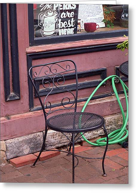 Perk Greeting Cards - Coffee Shop Greeting Card by Frank Romeo
