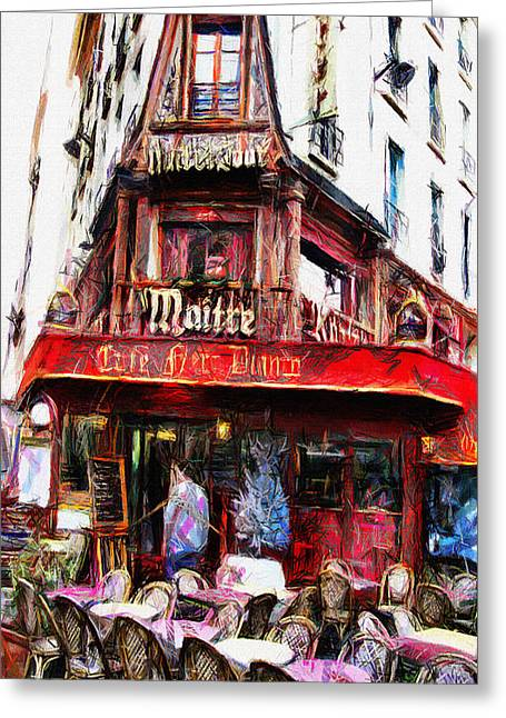 Cafe Pastels Greeting Cards - Coffee Shop in Paris - Pastel Greeting Card by Daliana Pacuraru