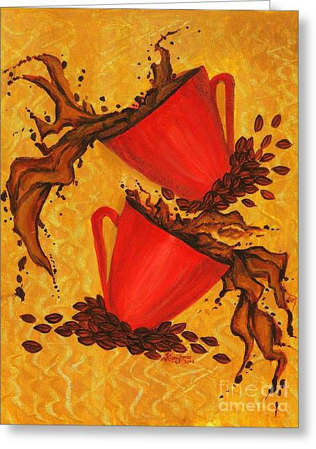 Coffee Drinking Paintings Greeting Cards - Coffee Splash Greeting Card by KarishmaticArt -  Karishma Desai